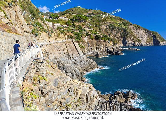 A walking trail from Riomaggiore to Manarola called the Via Dell'Amore 'Love Walk'part a trial Sentiero Azzurro 'Light Blue Trail', connects the five villages