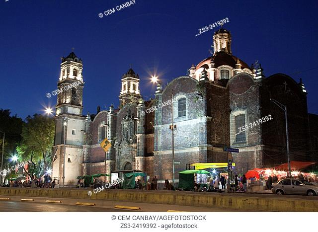 Cathedral San Juan de Dios at Avenida Hidalgo by night, Mexico City, Distrito Federal, Mexico, Central America