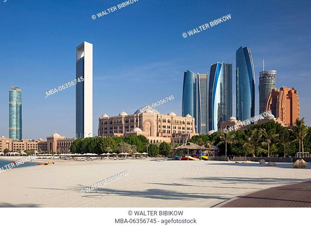 UAE, Abu Dhabi, skyline, Nations Towers, ADNOC Tower, Etihad Towers and Emirates Palace Hotel
