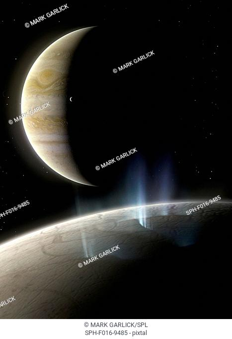 Ice plumes on Europa. Europa is the smallest of the four Galilean moons of Jupiter, and the second closest to the planet
