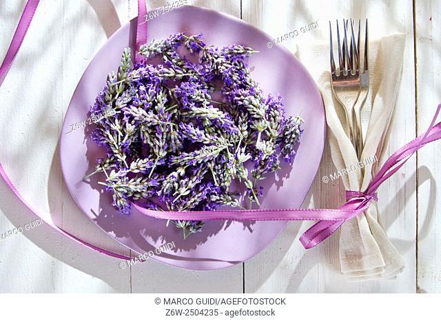 Summer presentation of lavender flower in spa area