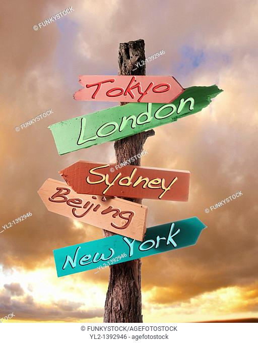 sign, notice or bill board saying Tokoyo, London, Sydney, Beijing and New York  For travel and busines
