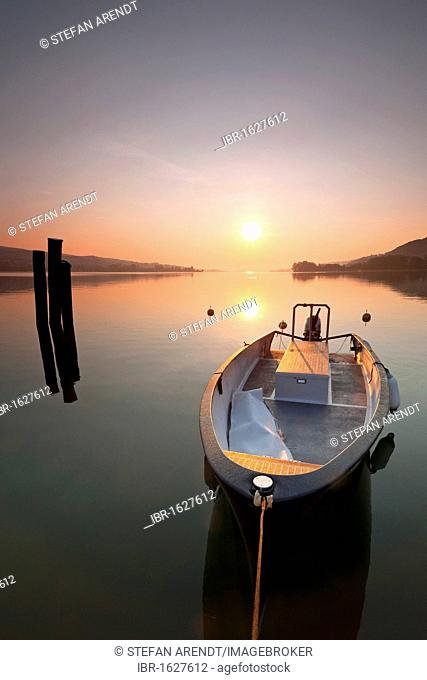 Lake Constance in the early morning and a boat, Steckborn, Switzerland, Europe
