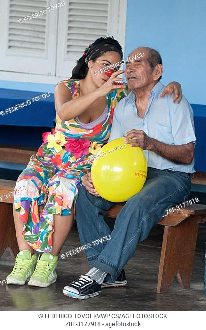 The clown of the group visiting the senior center of the city of Iquitos. Peru
