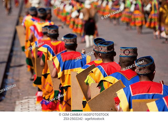 Scene from the Inti Raymi Festival at Plaza de Armas, Cuzco, Peru, South America