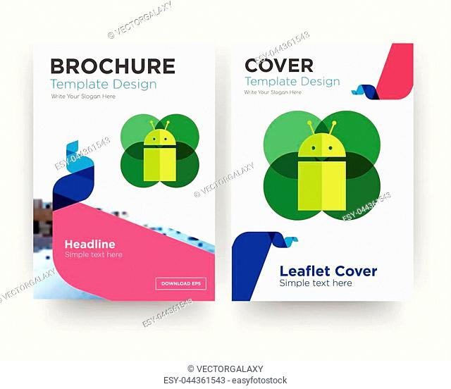 mobile os a brochure flyer design template with abstract photo background, minimalist trend business corporate roll up or annual report