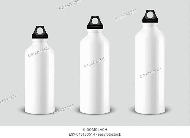 Vector realistic 3d different size - small, medium, large - empty glossy metal water bottle with black bung icon set closeup on white background