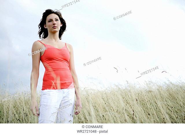 woman, standing, beauty, nature, gentle, feel, one