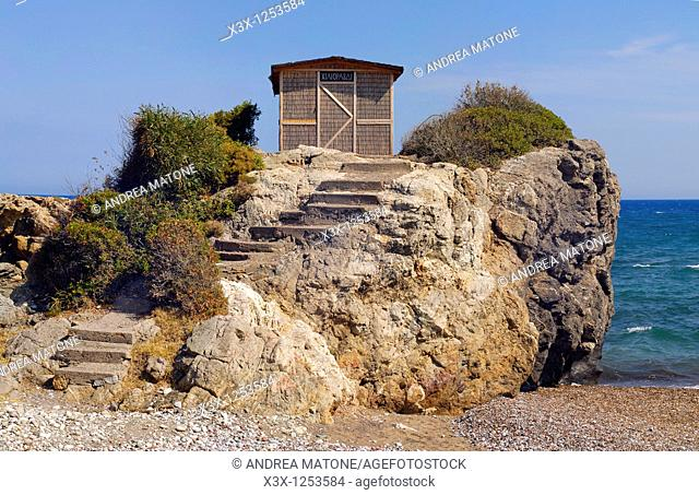 A bulrush hut on the rocky promontory of Hilioravdi Island of Rhodes Greece