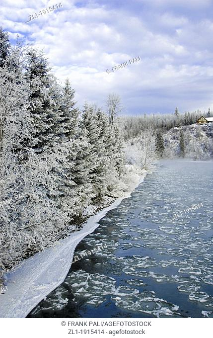 Winter ice flow in the Bulkley River Smithers,British Columbia