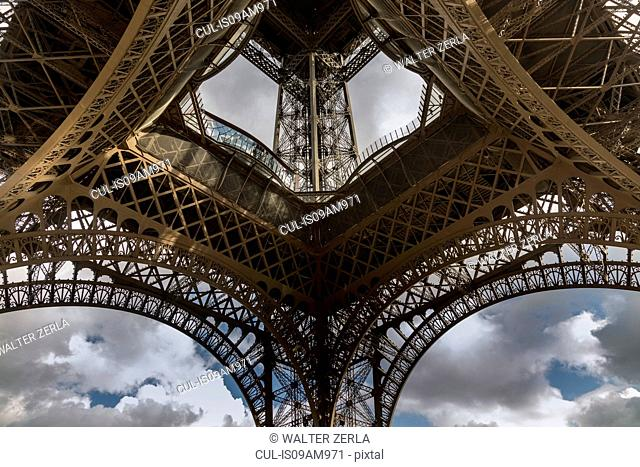 Low angle symmetrical view of Eiffel Tower, Paris, France