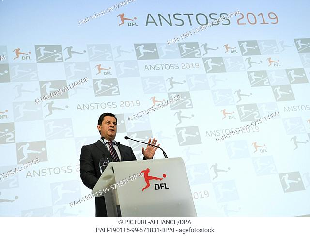 15 January 2019, Hessen, Frankfurt/Main: Christian Seifert, Managing Director of the German Football League (DFL), speaks at the New Year's Reception of the...
