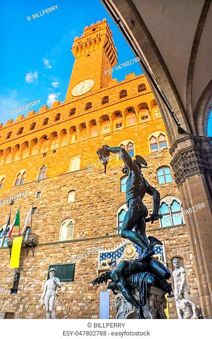 Perseus Medusa Statue Loggia dei Lanza David Hercules Statues Piazza della Signoria Palazzo Vecchio Florence Italy. Perseus statue created 1500s by Benvenuto...