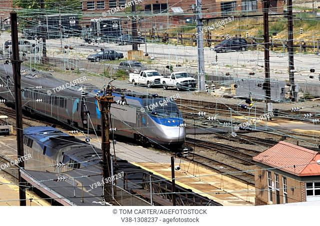 Rail lines at Union Station in Washington, DC, USA