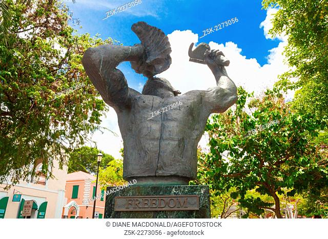The Conch Blower Statue in Emancipation Square Charlotte Amalie commemorates the Emancipation of the Slaves in the West Indies