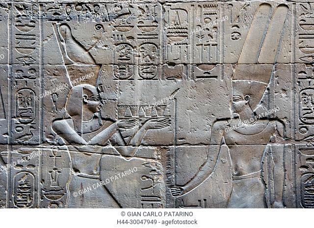 Luxor, Egypt. Temple of Luxor (Ipet resyt): the pharaoh Alexander the Great (356 - 323 b.C.) offers to god Amon Ra