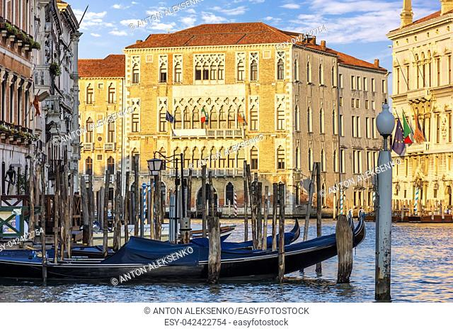 Gondolas moored in the Grand Canal near the University of Venice