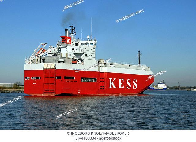 Car transporter, cargo ship, Kiel Canal, Brunsbüttel, Schleswig-Holstein