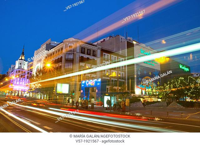 Narvaez street at Christmas time, night view. Madrid, Spain