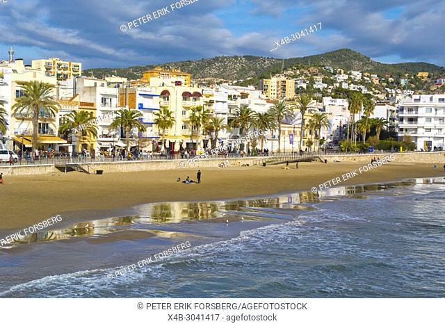 Platja de Sant Sebastia, Sitges, Catalonia, Spain