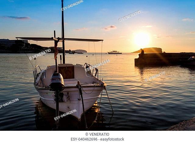 Beautiful sunrise landscape seascape in Mediterranean Sea of boat at anchor
