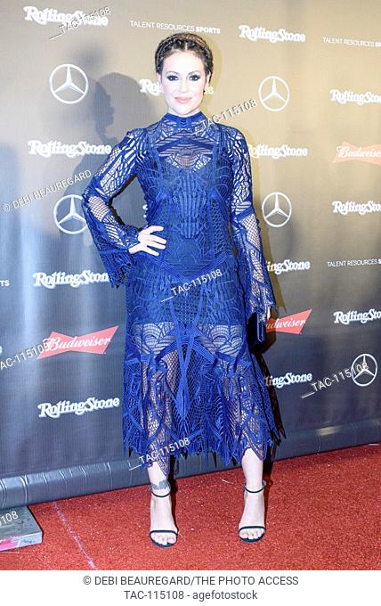 Alyssa Milano arrives at the Rolling Stone Superbowl Party at the Houston Museum Fine Arts on February 4, 2017 in Houston, Texas