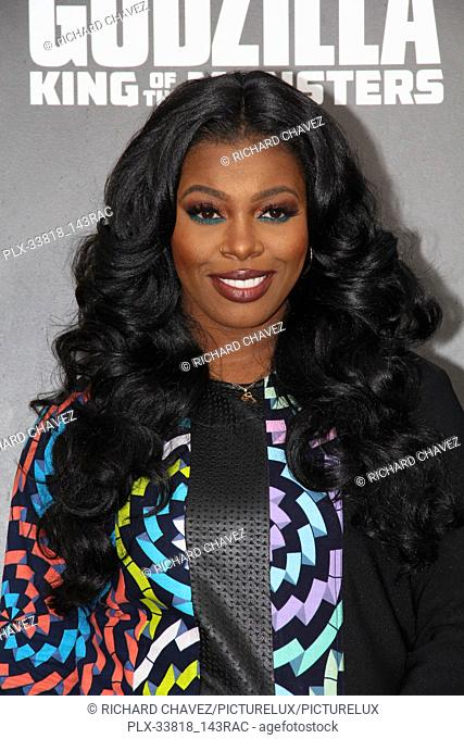 """Ta'Rhonda Jones at the Warner Brothers Pictures World Premiere of """"""""Godzilla King Of The Monsters"""""""". Held at the TCL Chinese Theater in Hollywood, CA, May 18"""
