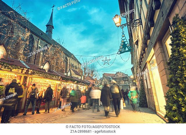 Christmas market at the city center. Colmar. Haut-Rhin. Alsace. France