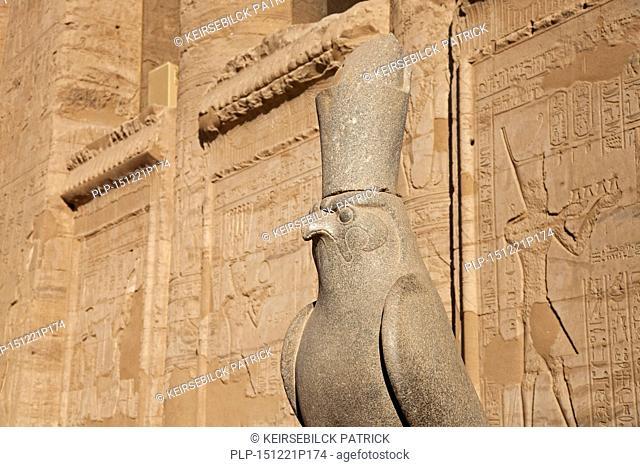 Statue of the falcon god Horus at the Temple of Edfu, Egypt