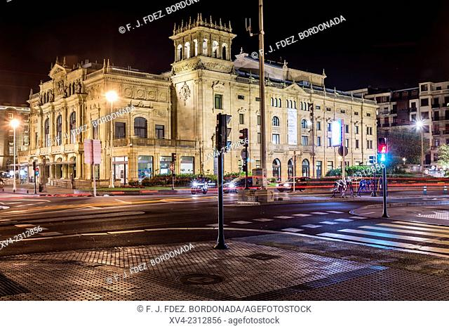 Vitoria Eugenia Theatre. Old town of San Sebastián by night. Donostia, Basque Country, Spain