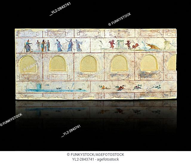 Roman Frescoes of the The Large Columbarium in Villa Doria Panphilj, Rome. A columbarium is usually a type of tomb with walls lined by niches that hold urns...