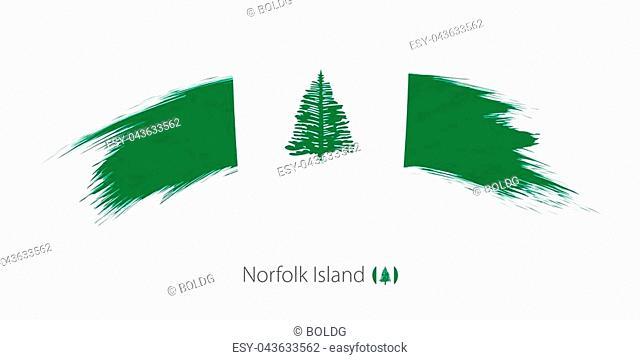 Flag of Norfolk Island in rounded grunge brush stroke. Vector illustration