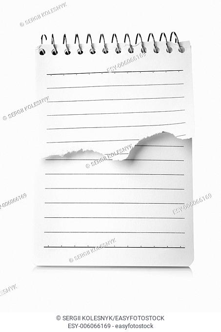 White notepad isolated on a white background