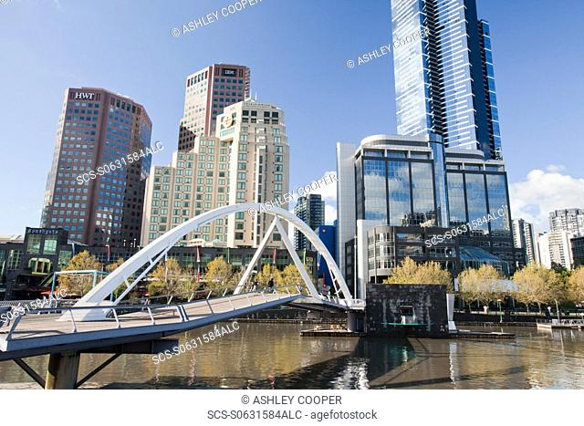 A footbridge across the Yarra River in Melbourne city centre with the Eureka Tower, Australia