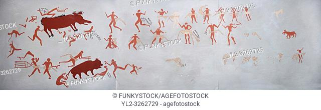 Recontructed fresco of an original found at Catalhoyuk depicting two animals being hunted. The men are wearing what scolars believe were leopard skin costumes
