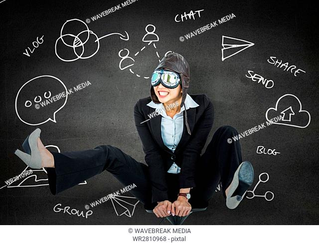 Business woman pilot on chair against grey wall with white business doodles