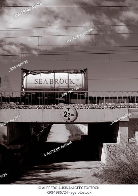 Freight train. Alboraya, Province of Valencia, Spain
