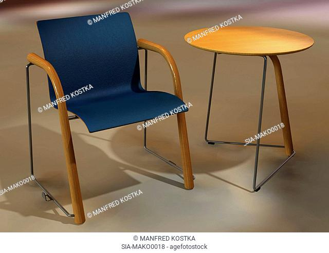 Dark blue chair and small table on beige background