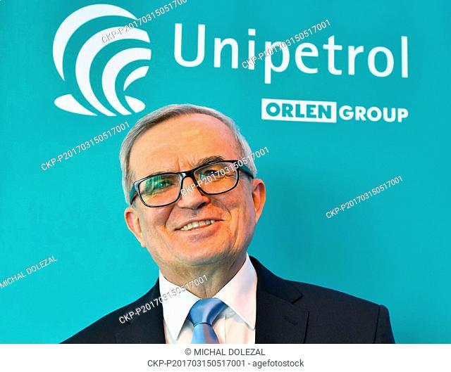 Unipetrol CEO Andrzej Modrzejewski attends a press conference of Unipetrol petrochemical group in Prague, Czech Republic, on Wednesday, March 15, 2017