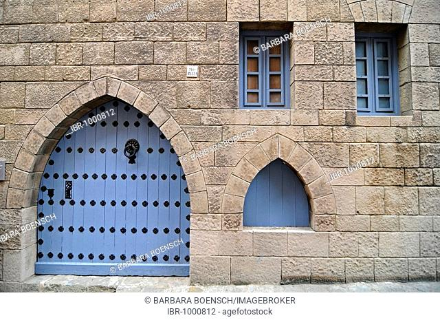 Blue door and windows on a facade, Poble Espanyol, Spanish village, open air museum, Montjuic, Barcelona, Catalonia, Spain, Europe