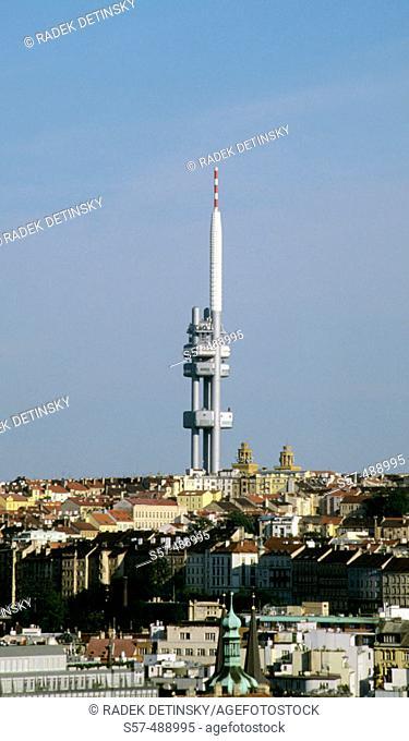 Modern architecture Zizkov TV tower. Prague. Czech Republic