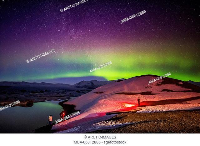Auroras and Icebergs at the Jokulsarlon, Breidamerkurjokull, Vatnajokull Ice Cap, Iceland