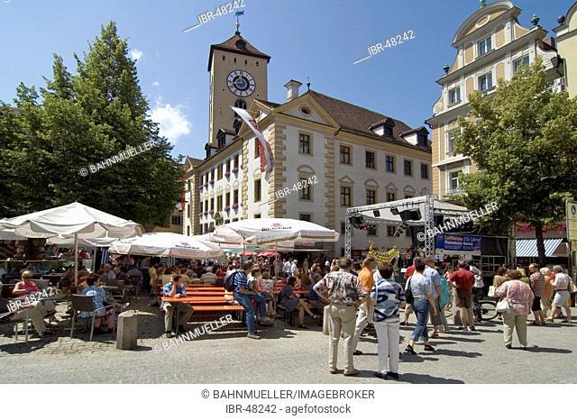 Regensburg Ratisbon Oberpfalz Bavaria Germany Buergerfest in the historic center