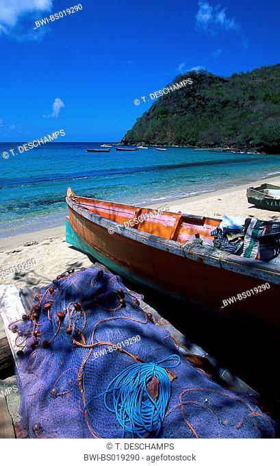 boat at beach of Les Anses d'Arlet , Martinique, Les Anses d Arlets