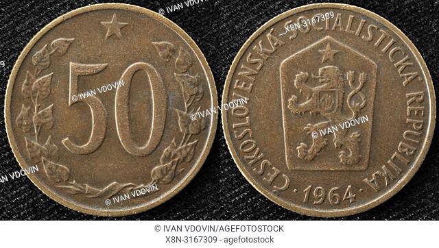 50 halierov coin, Czechoslovakia, 1964