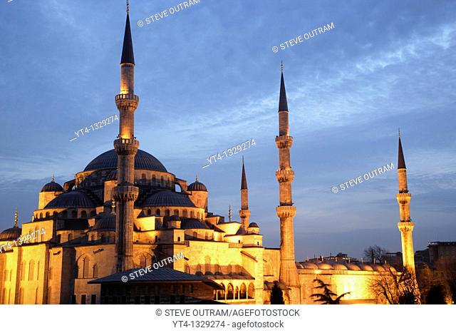 The Blue Mosque illuminated at night  Sultanahmet District, Istanbul