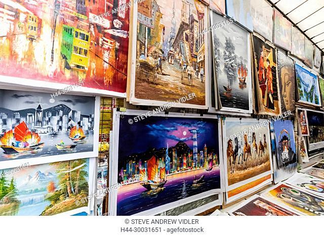China, Hong Kong, Mong Kok, Ladies Market, Display of Souvenir Paintings