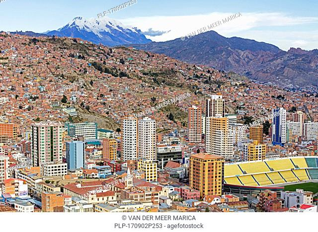 Aerial view over the city La Paz showing its business district and Estadio Hernando Siles sports stadium in the Miraflores borough, Bolivia
