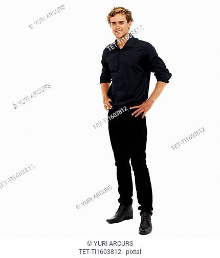 Studio Shot, Portrait of man with hands on hips