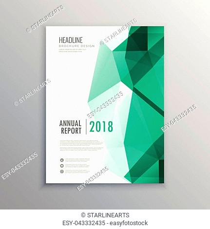 abstract geometric green shapes business brochure template